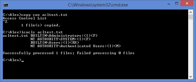 View ACL in command prompt