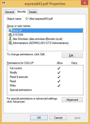 Security file Properties