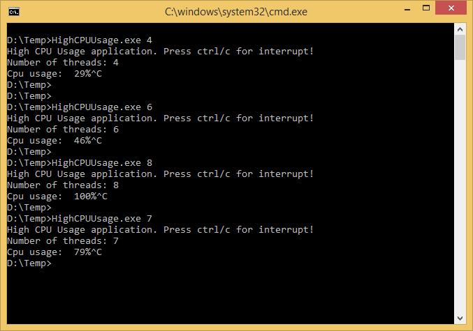 High CPU usage application