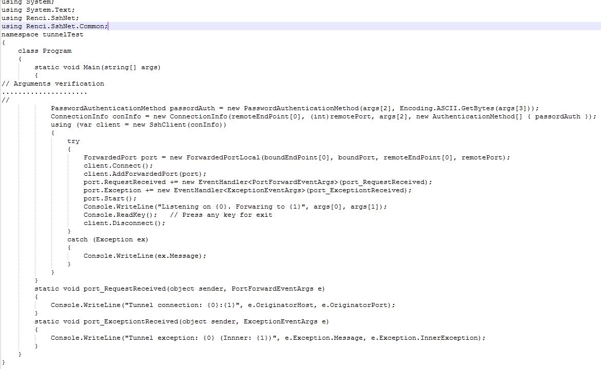 Renci.SshNet port forwarder