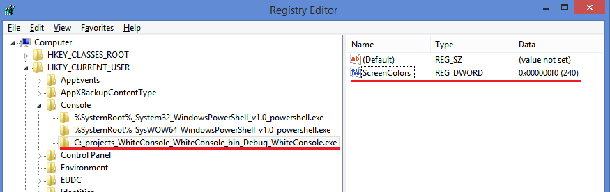 Registry settings for console appliacation