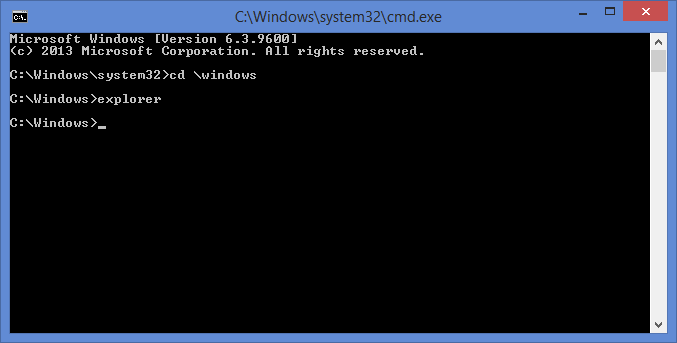 Start explorer from command prompt
