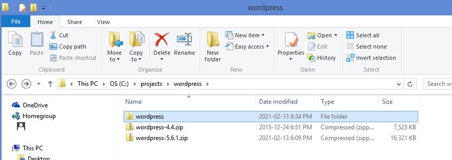 Downloaded WordPress
